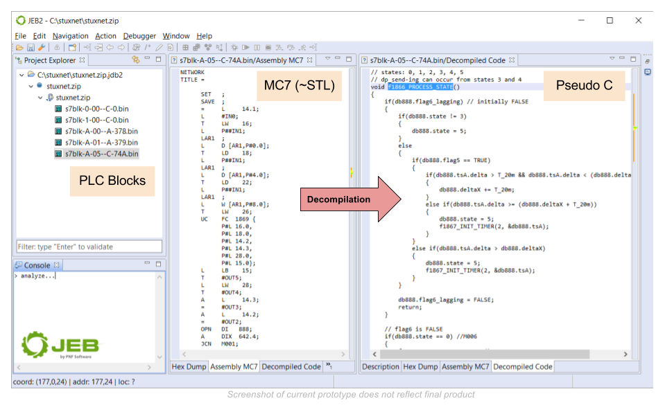 JEB Decompiler for S7 PLC - JEB Decompiler by PNF Software